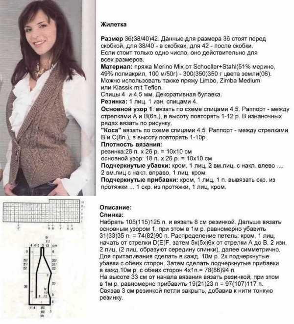 Женская жилетка спицами простые схемы и узоры вязанных жилеток для начинающих