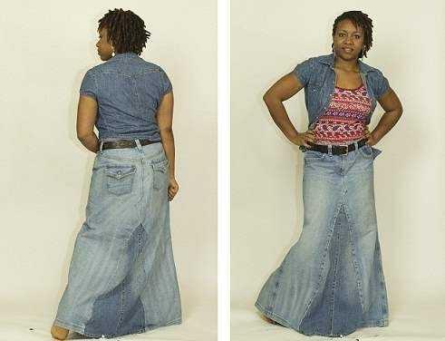 Какую юбку можно сшить из старых джинсов 16