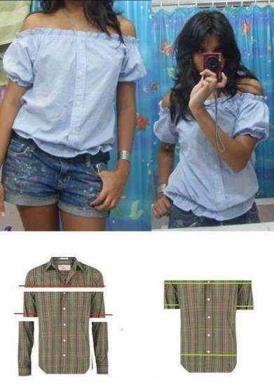 f69ac408878 Как из мужской рубашки сшить женскую блузку