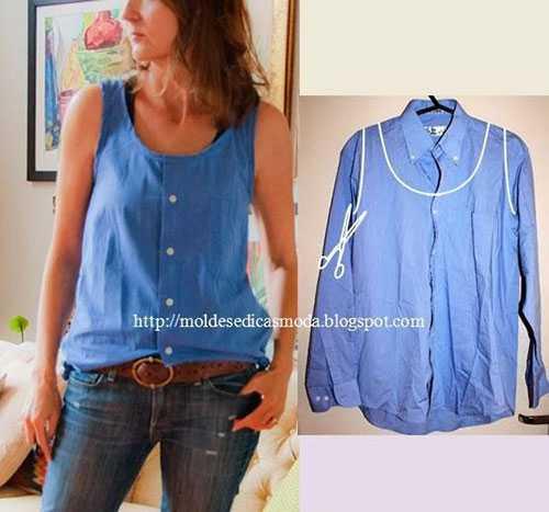 9b3a78c629a Крестьянская блузка из мужской рубашки. Линии отреза показаны на фото  красным цветом. По желтым линиям присборить ниткой-резинкой. И наряд готов!