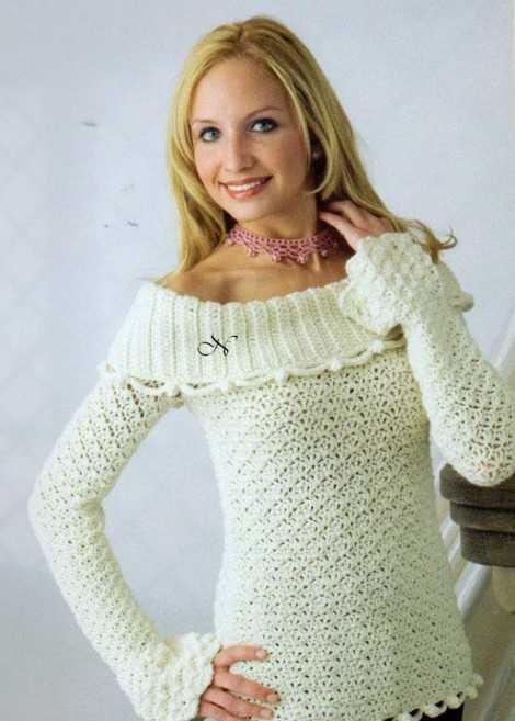 как крючком вязать свитер