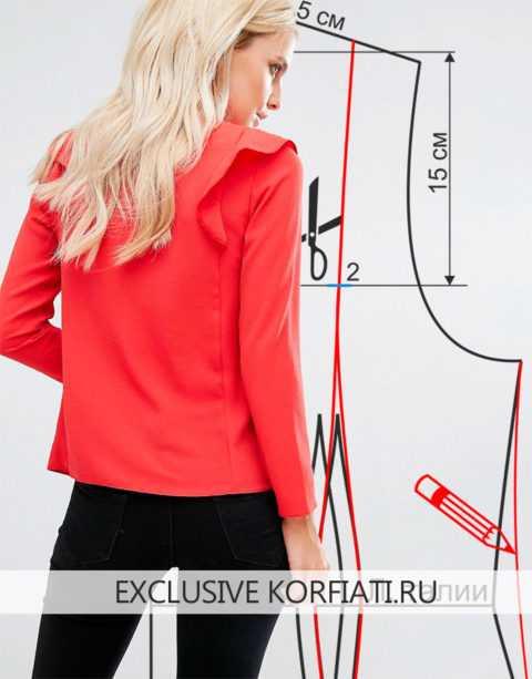 7664d9d55cf Еще одна дизайнерская задумка. Основа выкройки – блуза с коротким рукавом  без воротника. Примерно на середине проймы провести горизонтальную линию до  ...