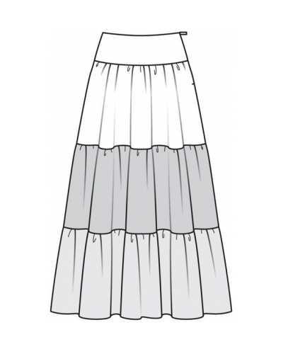 d08fd61927d4e68 Его делают ярусами. Для него можно взять выкройку любой многоярусной юбки  из журнала. Например, ступенчатая юбка, модель 123 из Burda 3/2013г.