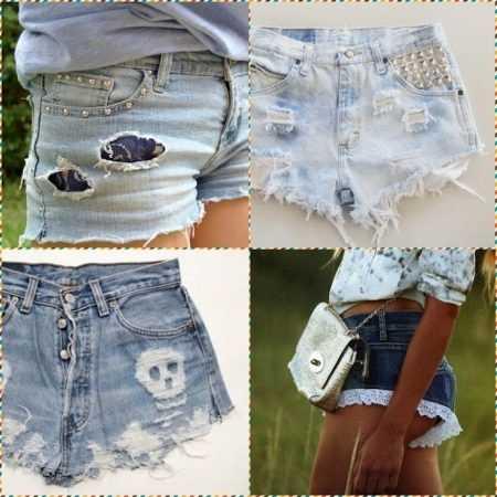 a05244148635 Просто обрежьте необходимую длину брючин и в вашем гардеробе уже есть новые джинсовые  шорты. Края шортов лучше не обрабатывать, так вы будете выглядеть еще ...