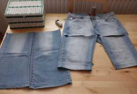 cfcb50ed582a берем старые джинсы и делим их на три части (как на фото).