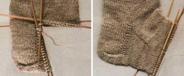 как вязать пятку носка на спицах