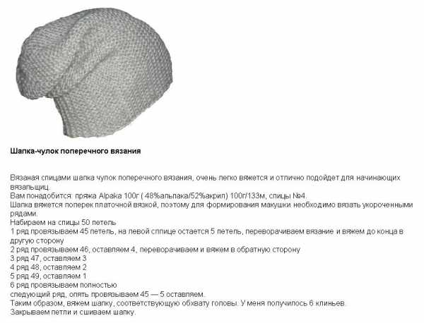 Схема вязания шапки бини платочной вязкой 71