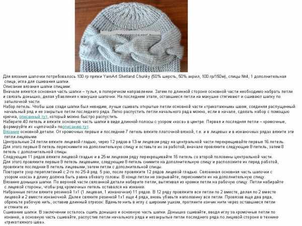 Вязание объемной шапки спицами с описанием 33