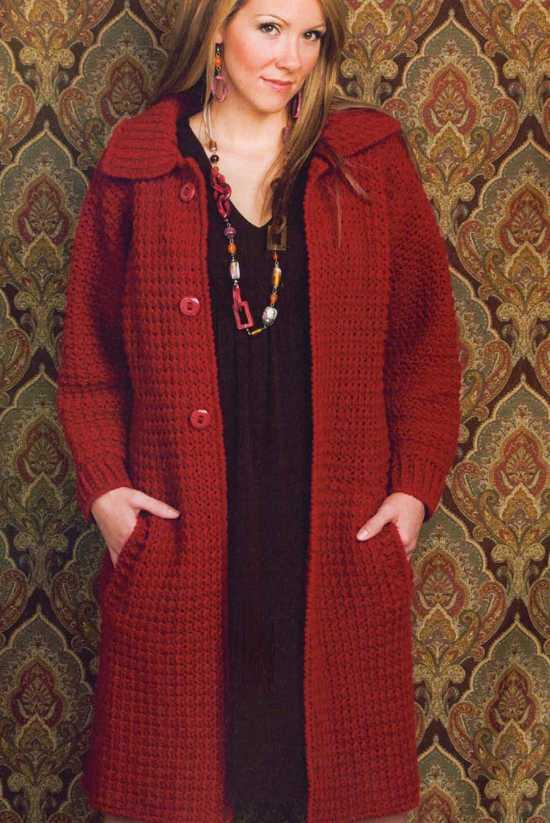 пальто вязаное спицами для полных женщин