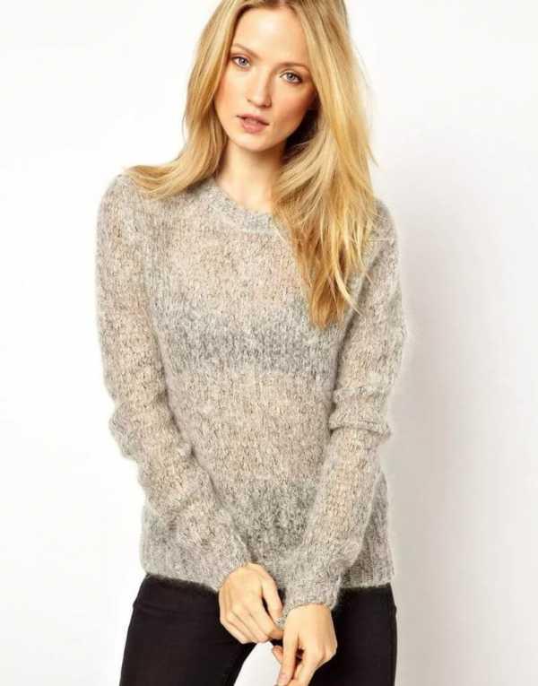 Как связать свитер женский платочной вязкой 66