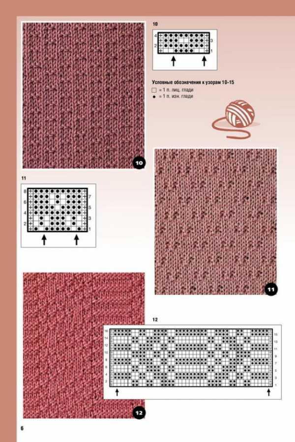 Узоры из лицевых и изнаночных петель с накидами для вязания спицами