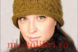 шапка спицами для женщин