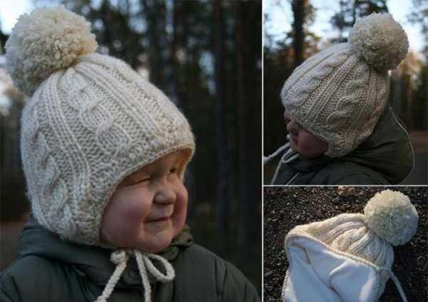 шапочка спицами с ушками