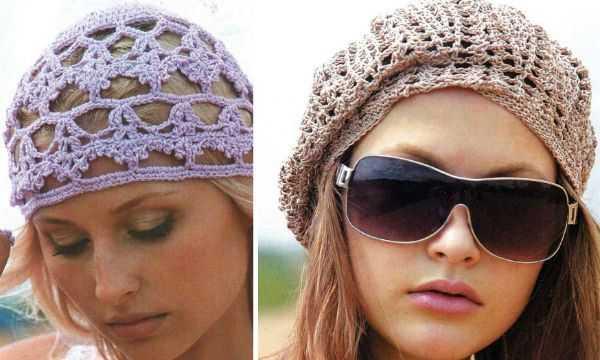 схемы вязания летних шапочек крючком