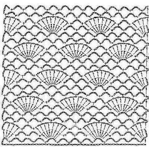 схема узор крючком с постепенным расширением полотна