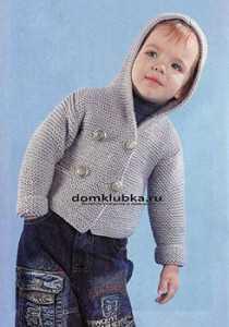 спицами детская кофта с капюшоном