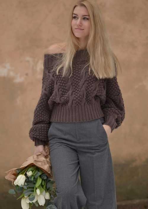 свитер рубан схема вязания спицами