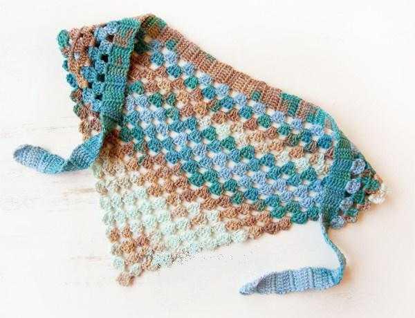 вязание косынки крючком