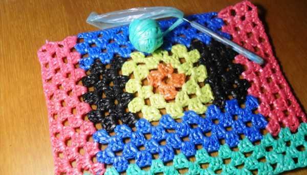вязание крючком из пакетов для мусора коврики схемы