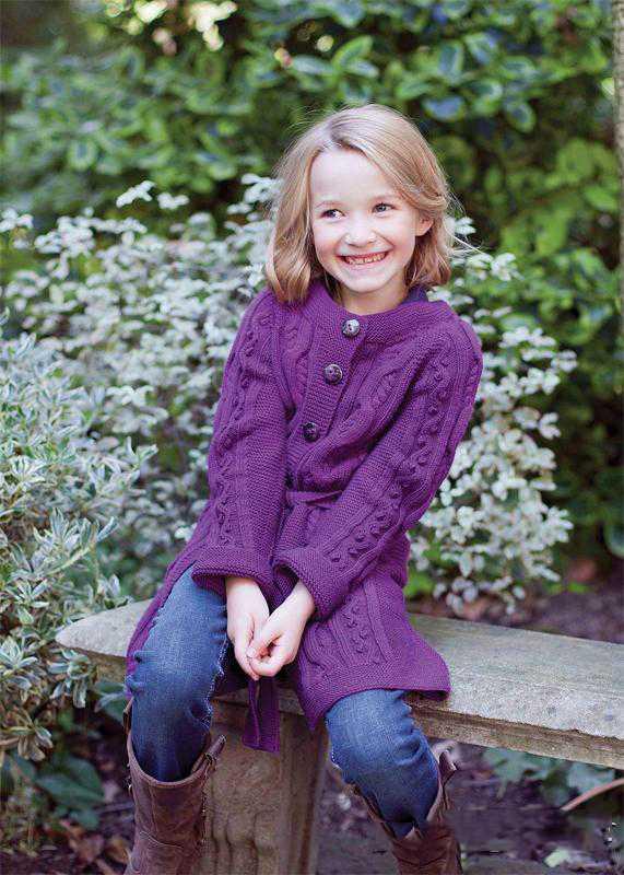 Пальто для девочки с рюшами,  Вязание для детей
