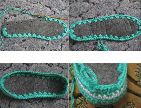 вязание крючком тапочек на войлочной подошве