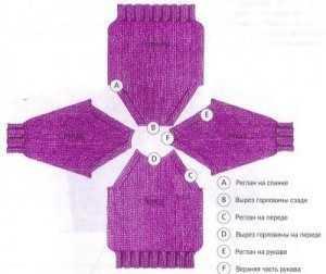 вязание реглана снизу вверх спицами схема