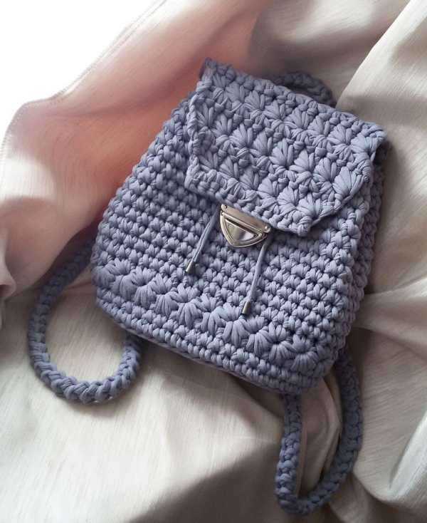 вязание рюкзака крючком из трикотажной пряжи