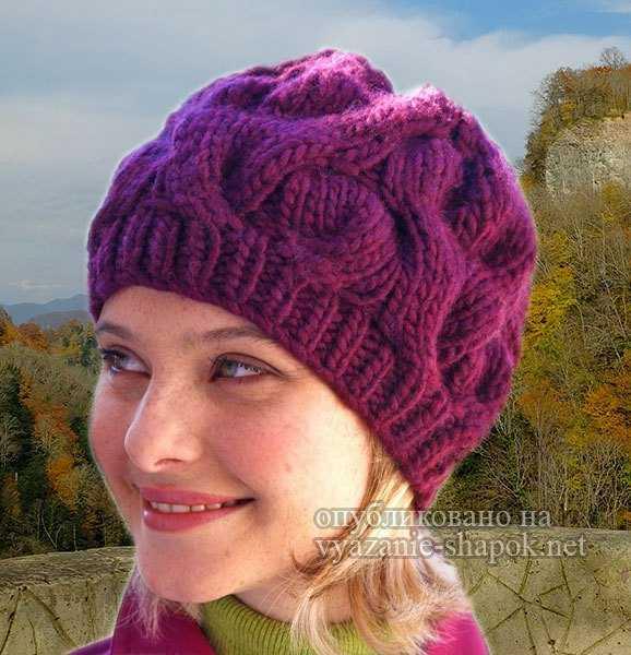 вязание шапочки для женщин на зиму