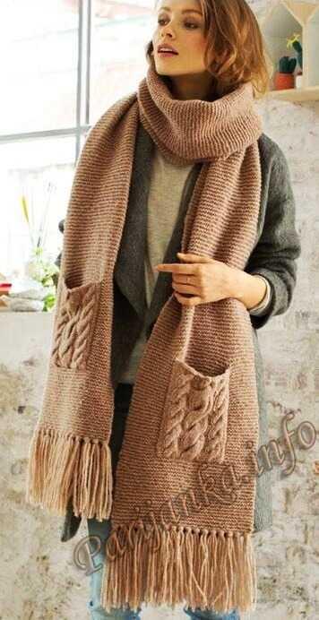кромка шарфа спицами схема
