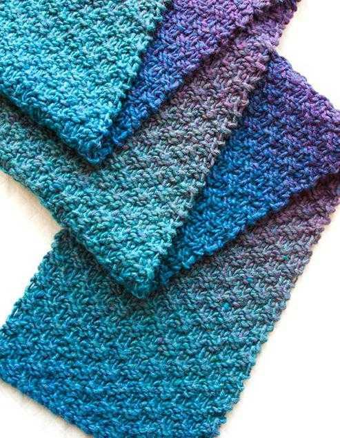 схемы вязания спицами широких шарфов
