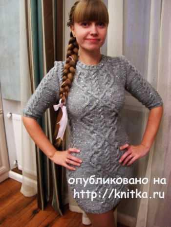 вязанные платья со схемами и описанием спицами для женщин