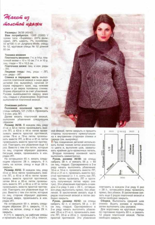 Пальто из толстой пряжи схемы